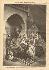 Tangier Morocco, Africa, Islamic Men, Mosque, Vintage 1875 German Antique Print