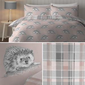 Blush Fusion COLVILLE Hedgehog Tartan Check Animal Print Duvet Cover Bedding Set