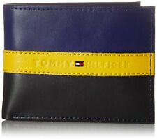 Tommy Hilfiger Men's Leather Wallet Passcase Billfold RFID 31tl220053 Red Navy