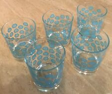 5 IKEA Drinking Glasses Polka Dot Retro Turquoise Blue High Ball 8 oz RETIRED