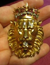 VINTAGE GOLD LIONS HEAD WITH RHINESTONE CROWN-NEAT PIECE!