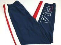 FILA Men Running Track Fitness Pants Spell Out Size Medium Red White Blue New