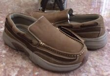New Rugged Shark Pacifico Men's Premium Tan Leather Comfort Boat Shoes Size 10.5