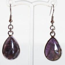 Semi-Precious Silver Teardrop Stone Earrings - Purple Amethyst