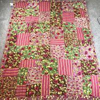 """Pine Cone Hill Velvet & Cotton Floral / Stripe Patchwork Quilt 67"""" X 84"""" Boho"""