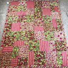 """Pine Cone Hill Quilt Velvet & Cotton Floral / Stripe Patchwork 67"""" X 84"""" Boho"""