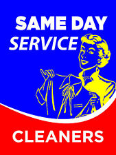 Same Day Service Cleaners Dry Cleaners Display Sign 18w X 24h Full Color