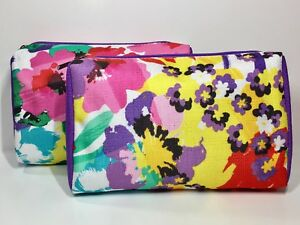 2x Clinique Cosmetic Makeup Bag by Jonathan Adler (Pink & White)