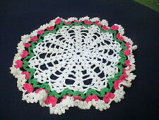 """#5- 8"""" TABLE DOILY COTTON CROCHET LACE OFF WHITE GREEN & ROSE PINK"""