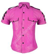 Men Hot Genuine Real Black Pink Sheep LEATHER Police Uniform Shirt BLUF Gay Kink