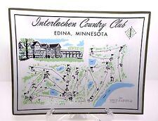 Bobby Jones 1930 Us Open Golf Interlachen Map Round 3 Tee Shot Glass Plate Rare
