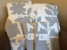 POTTERY BARN Lilo Tropical KING Quilt & 3 STANDARD Shams NEW - Chambray BLUE