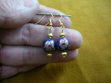 (ee613-50) 12 mm Dark Blue mauve pink flower CLOISONNE bead dangle EARRINGS