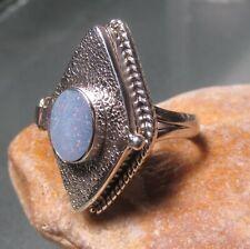 Sterling silver 925 Australian blue opal doublet poison ring UK N-N½/US 6.75-7.