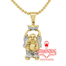"Real Diamond Laughing Buddha With Bowl 1.30"" Mini Pendant Charm 10k Gold Finish"