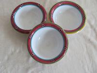 Deruta Pottery Italy Villagio-Multi-Color Geometric- Set of 3 Cereal Bowls