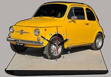 AUTO MINIATURA, FIAT 500 GIALLO-06, AUTO IN OROLOGIO MINIATURA