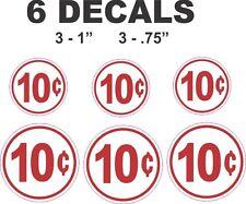 6 Vending Machine Restoration 10 Ten Cent Vinyl Decals- Coke Pepsi and More