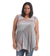Plus Size 1X Chelsea Theodore Multi Stripe Print Tunic Top NWT$98