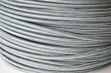 1 METER ELEPHANT GREY SILK COVERED 3 CORE LIGHT FLEX WIRE BRAIDED CORD
