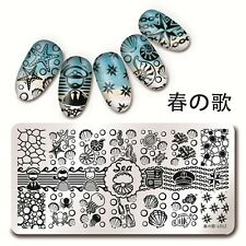 Nail Art Stamping Template Sea Shell Starfish Sailor Image Plate Harunouta Tool