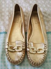 COACH Gold Leather Pamelyn Ballet Court Flats Size 9B