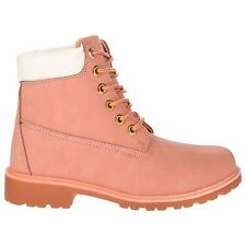Womens Lace Up Flat Military Worker Boots Ladies Low Heel Ankle Shoes UK3-8