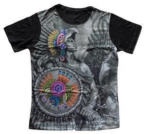 Mens Mexican Caballero Aguila T-Shirt Aztec Warrior Graphic Tee Medium Large XL