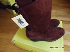 Fly London Yada suede wine burgundy boots nib sz UK 4 Eu 37 US 7 retail $225