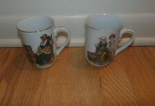 "Set of 2 Norman Rockwell 1982 Museum Inc. Mugs/ Cups Memories & The Cobbler 4"""