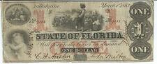 Florida Tallahassee $1 issued 1863 VF CR19 Rarity 6 slave with cotton #9188 Gift
