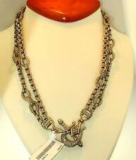 $2500 Scott Kay White Diamond Toggle Link 2tier X-Heavy Necklace Sterling Silver