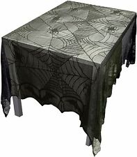Gothic Black Lace BAT SPIDER WEB TABLE CLOTH COVER TOPPER Halloween Decor--96x48