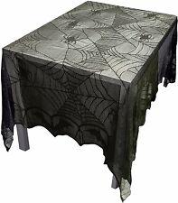 Gothic schwarz Spitze Fledermaus Spinnennetz Tischdecke Abdeckung Topper Halloween Dekor -- 96x48