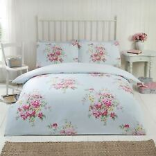 MAISIE FLORAL DOUBLE DUVET COVER SET BLUE TEAL FLOWERS ROSES REVERSIBLE