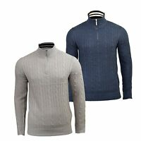 Mens Jumper Brave Soul Zip Funnel Neck Knitwear Sweater