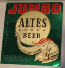 San Diego, Ca Altes Jumbo beer bottle label, also Detroit, Mi. post- Irtp, 1950s