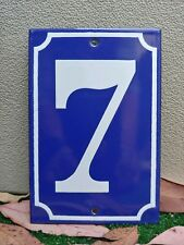 EXCELLENT! VINTAGE FRENCH New Old Stock Enameled Porcelain Number 7 Sign Plate