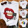 Womens Summer Short Sleeve Lips Bad Girls Print T-Shirt Casual Loose Tee Tops