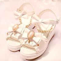 Summer Cool High-heeled Shoes Sweet Kawaii Lolita Japanese Princess Sandals Bow#