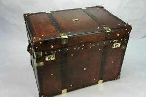 Finest English Large Leather Steamer Trunk Coffee Table ZA10