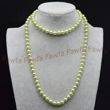 8mm South Sea Olive Green Shell Pearl Round Beads Necklace Jewelry 16-72''