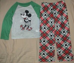 MICKEY MOUSE GREEN*GRAY*RED SLEEP SET-JAMMIES FOR YOUR FAMILIES-SIZE 8-NWT
