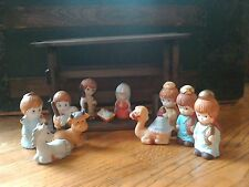 Musical/ Manger scene/12 piece set/ Hand Painted/Hand Crafted