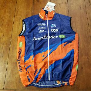 Giordana Mens XL Cycling Vest Windbreaker NOS Orange Blue Italian Made Zipp
