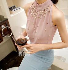 Elegant Women Beading Chiffon Off Shoulder Blouse Turtleneck Shirt Women Tops