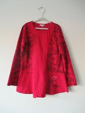 Naartjie Kids Red Floral Printed Embroidered Cotton Tunic Top Blouse XL (7 yrs.)