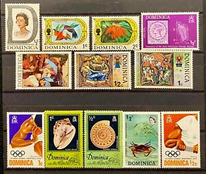 DOMINICA - DIFFERENT TOPICS - LOT OF 12 MH STAMPS