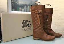 Burberry Tan Leather Knee High Boots - Washed Quilted Riding Boot - UK 7.5 + box