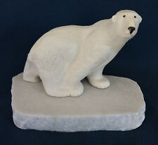 "Polar Bear ""Maigon Daga"" White Marble Base Ceramic Studio Mid 1960's"